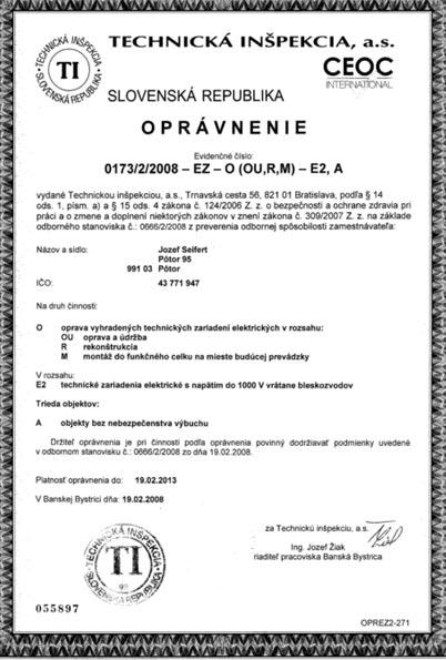Technická inšpekcia - oprávnenie na revízie elektrozariadení do 1000V