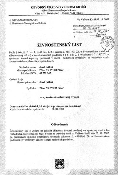 Živnostenský list Jozef Seifert